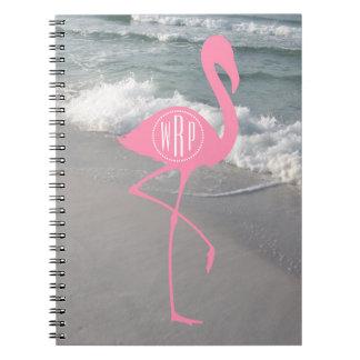 Monogram Pink Flamingo Beach Notebook