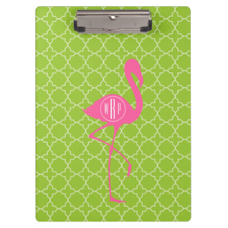 Monogram Pink Flamingo Lime Green Quatrefoil Clipboard