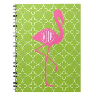 Monogram Pink Flamingo Lime Green Quatrefoil Note Books