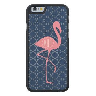 Monogram Pink Flamingo Navy Quatrefoil Carved® Maple iPhone 6 Slim Case