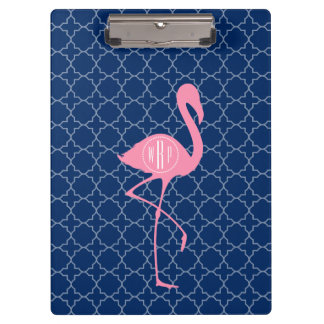 Monogram Pink Flamingo Navy Quatrefoil Clipboard