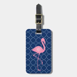 Monogram Pink Flamingo Navy Quatrefoil Luggage Tag