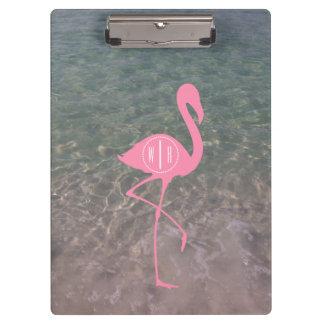 Monogram Pink Flamingo + Ocean Water Clipboard
