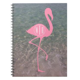 Monogram Pink Flamingo + Ocean Water Notebook