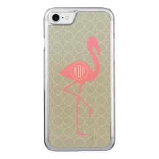 Monogram Pink Flamingo + Quatrefoil Carved iPhone 8/7 Case