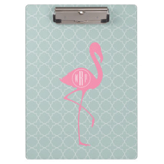 Monogram Pink Flamingo + Quatrefoil Clipboards