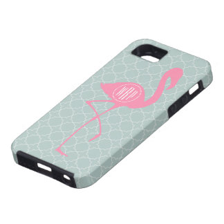 Monogram Pink Flamingo + Quatrefoil iPhone 5 Covers
