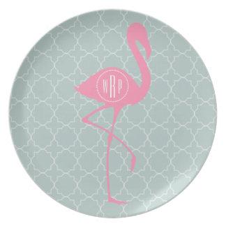 Monogram Pink Flamingo + Quatrefoil Plate