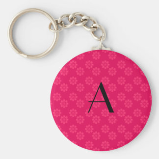 Monogram pink flowers pattern keychain