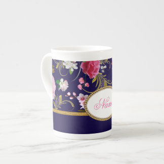 Monogram Pink Flowers Tea Cup