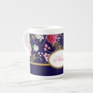 Monogram Pink Flowers Tea Cup