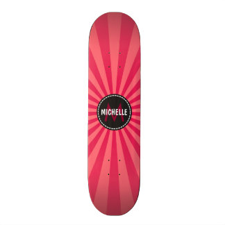 Monogram Pink Funky Sun Rays Pattern 18.1 Cm Old School Skateboard Deck