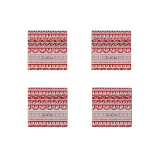 Monogram Pink Geometric Aztec Tribal Print Pattern Stone Magnet