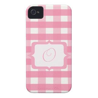 Monogram Pink Gingham iPhone 4 Case-Mate Cases