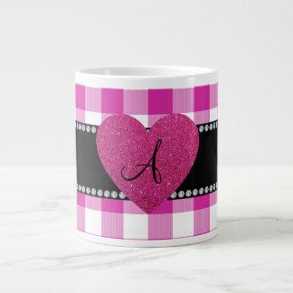 MONOGRAM Pink gingham pattern heart Jumbo Mug