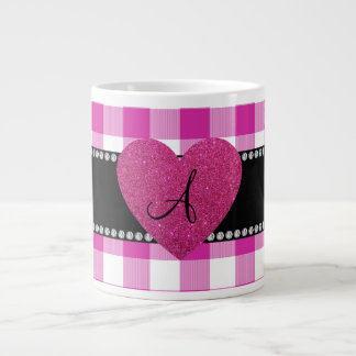 MONOGRAM Pink gingham pattern heart Large Coffee Mug