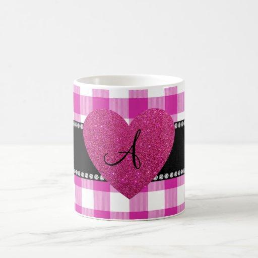 MONOGRAM Pink gingham pattern heart Coffee Mug