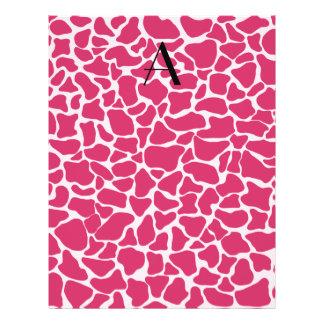Monogram pink giraffe print 21.5 cm x 28 cm flyer