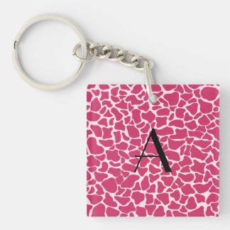Monogram pink giraffe print square acrylic key chain