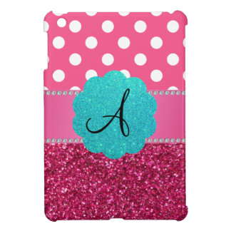 Monogram pink glitter and polka dots iPad mini covers