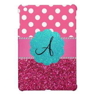 Monogram pink glitter and polka dots iPad mini covers