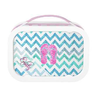 Monogram Pink Glitter Flip Flops Teal Aqua Chevron Lunch Box