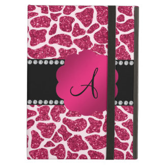 Monogram pink glitter giraffe print iPad cover