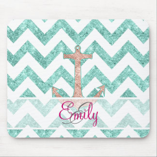 Monogram Pink Glitter Nautical Anchor Teal Chevron Mouse Mat