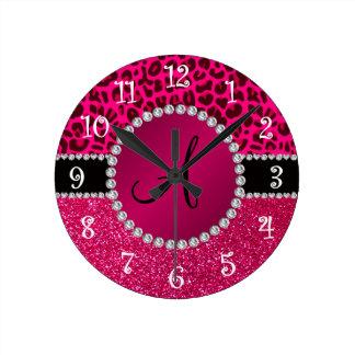 Monogram pink glitter neon hot pink leopard round clock