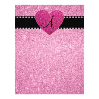 Monogram pink glitter pink heart 21.5 cm x 28 cm flyer