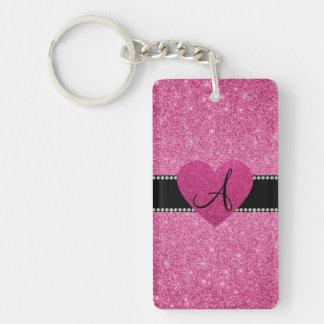 Monogram pink glitter pink heart rectangle acrylic keychains