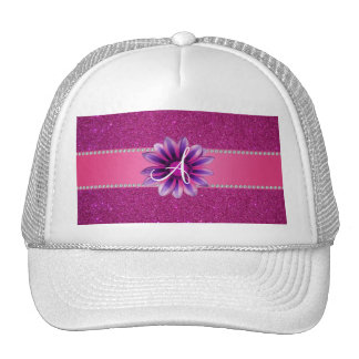 Monogram pink glitter purple daisy hat