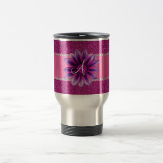 Monogram pink glitter purple daisy coffee mug