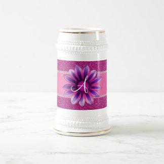Monogram pink glitter purple daisy coffee mugs