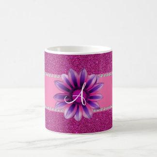 Monogram pink glitter purple daisy mugs