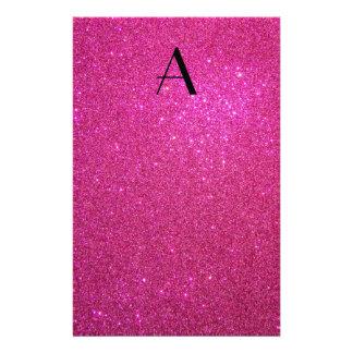 Monogram pink glitter stationery