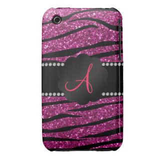 Monogram pink glitter zebra stripes iPhone 3 case