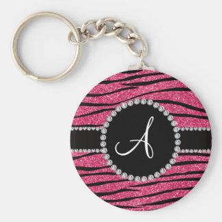 Monogram pink glitter zebra stripes circle key chains