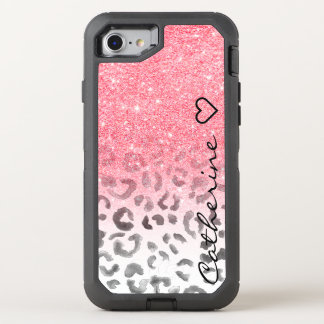 Monogram pink gold glitter leopard watercolor OtterBox defender iPhone 7 case