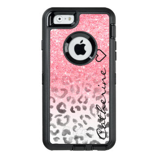 Monogram pink gold glitter leopard watercolor OtterBox defender iPhone case