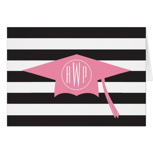 Monogram Pink Graduation Cap + Black Stripes Card