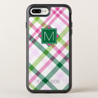 Monogram | Pink & Green Plaid OtterBox Symmetry iPhone 8 Plus/7 Plus Case