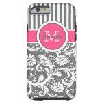 Monogram Pink Grey White Striped Damask Tough iPhone 6 Case
