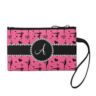 Monogram pink gymnastics hearts bows coin purse