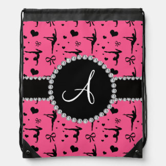 Monogram pink gymnastics hearts bows drawstring bag