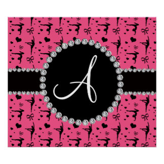 Monogram pink gymnastics hearts bows poster