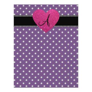 Monogram pink heart purple diamonds flyer