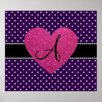 Monogram pink heart purple diamonds print
