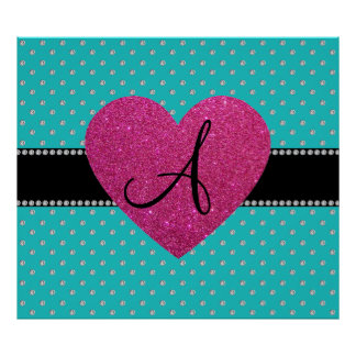 Monogram pink heart turquoise diamonds print