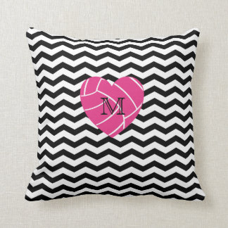Monogram Pink Heart Volleyball Pillow